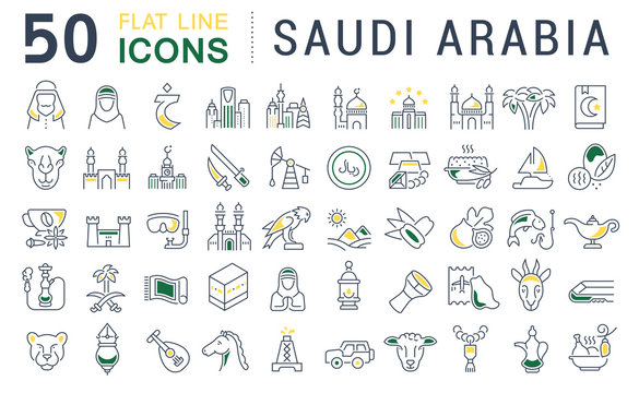 Set Vector Line Icons of Saudi Arabia.