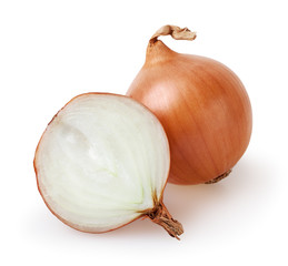 Onion bulbs isolated on white background with clipping path