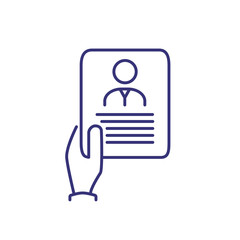 Resume line icon. Curriculum vitae, person, candidate. Career concept. Vector illustration can be used for topics like hiring process, work, business