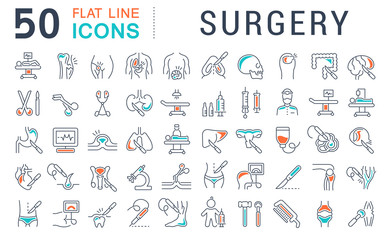 Set Vector Line Icons of Surgery.