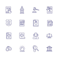 Court line icon set. Judge, courthouse, evidence. Justice concept. Can be used for topics like investigation, crime, law