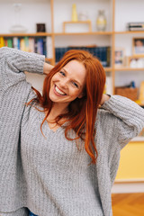 Red-haired woman with beautiful smile