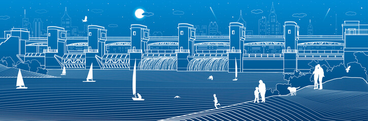 Hydro power plant. River Dam. Energy station. Water power.  People walk along the shore. City infrastructure industrial illustration panorama. White lines on blue background. Vector design art