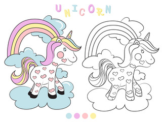 Fun educational game for preschool kids. Coloring book for children, unicorn - vector illustration.