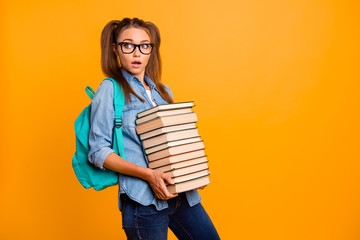 Back to school! Portrait of her she nice lovely attractive puzzl