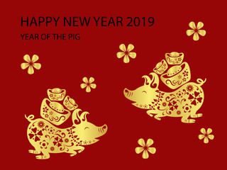 Happy chinese new year 2019. Year of the pig. Vector illustration design.