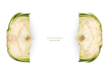 Two partial cross sections of fresh artichoke. Food concept