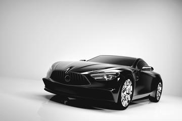 Black sport car on white studio background.
