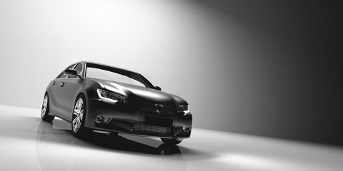 Sedan car on light studio background.
