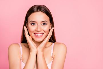 Obraz Close up portrait of tender charming feminine cute gorgeous glad - fototapety do salonu