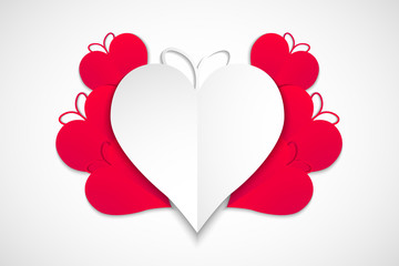 Happy valentines day, red and white hearts with white background, vector, illustration, eps file