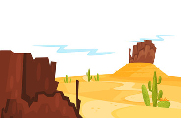 Landscape of sandy desert with green cacti and brown rocky mountains. Cartoon natural scenery. Flat vector design