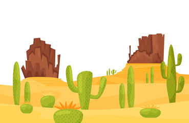 Scenery of hot sandy desert with green cacti and brown rocky mountains. Wilderness landscape. Flat vector design