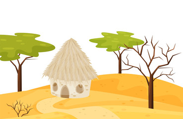 Sandy scenery with small house, dry and green trees. Cartoon landscape of hot desert. Natural view. Flat vector design