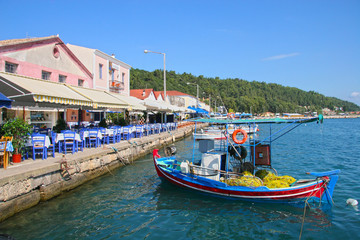Waterfront of the sleepy Greek fishing village of Katakolon, Greece.