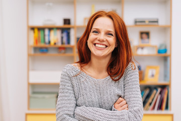 Red-haired woman laughing