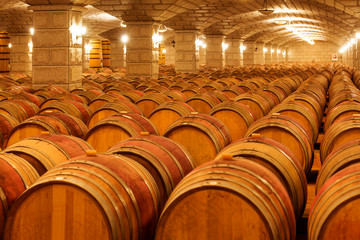Wine barrels stacked in the cellar of the winery.