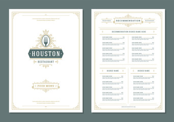 Restaurant menu design and logo vector brochure template.
