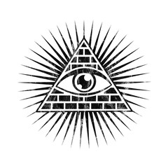 All seeing eye, pyramid with grunge distressed texture