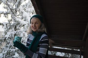 Beautiful senior Women smiling and enjoying on the winter holiday