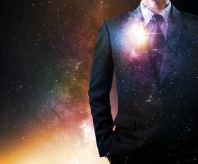 businessman with stars in milky way space background