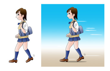 通学、歩く01