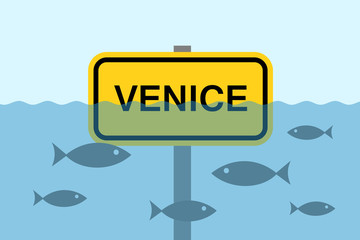 Venice is sinking under water because of rise and growth of sea level. City and town is disappearing. negative environmental and natural problem - climate change and global warming.