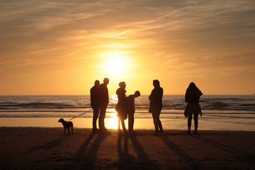 Dutch beach at Julianadorp. Coast Sunset
