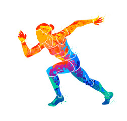 Abstract of a running woman short distance sprinter from splash of watercolors