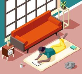 Home Reading Weekend Isometric Illustration