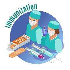 Vaccination Isometric Emblem