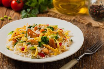 Fried rice with egg and vegetables.