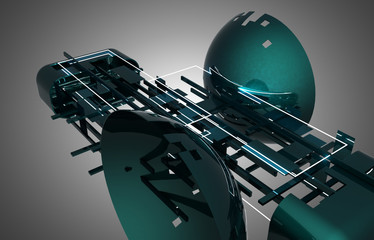 3d abstract background spaceship .3d illustration
