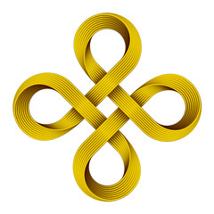 Golden Bowen cross symbol. Vector illustration.