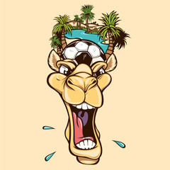 Camel with a soccer ball and palm trees on its head