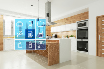 Smart Home Technologie Interface für moderne Küche Wall mural