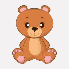 Hand drawn vector illustration of a cute funny bear.