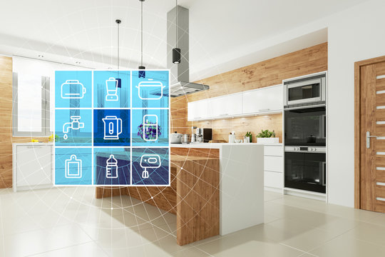 Smart Home Technologie Interface für moderne Küche