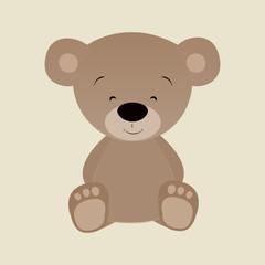 Hand drawn flat illustration of a cute funny bear.