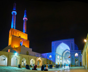 Friday Mosque in blue lights, Yazd, Iran