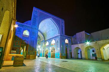 Explore evening illumination of Jameh Mosque, Yazd, Iran