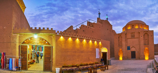 Panorama of medieval edifices in Yazd, Iran