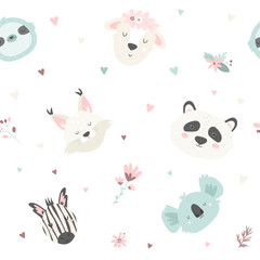 Cute seamless pattern with animals. For prints