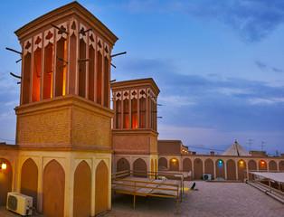 The windcatchers in evening lights, Yazd, Iran