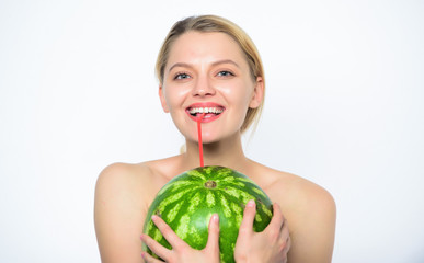 Watermelon vitamin beverage. Enjoy natural juice. Girl nude drink fresh juice whole watermelon fruit cocktail straw white background. Pure pleasure concept. Healthy lifestyle and organic nutrition