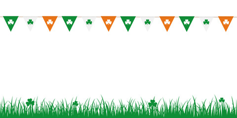 party flags with clover leaves on white background with meadow vector illustration EPS10