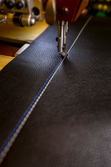 Leather with Blue and White Stitching on a Commercial Sewing Machine