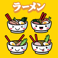 ramen with cute cartoon style
