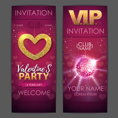 Happy Valentines day disco party poster. Invitation design