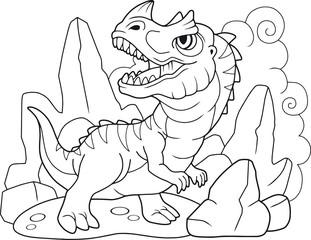 cute cartoon dinosaur ceratosaurus, coloring book, funny illustration